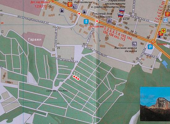 Расположение участков на карте города